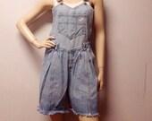 Vintage 80s GUESS Denim Shortalls/Overalls Shorts - Sz  Small
