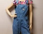 Shortalls Vintage 80's cut off  BLUE  Hand Dyed Denim overalls Shorts - Sz Small