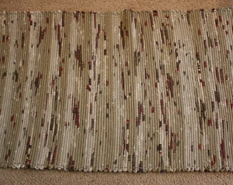 Handwoven Rag Rug - Mixed Taupe with touches of Red and Green  - 46 inches....(#55)
