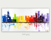 Original Chicago Skyline Painting Modern Abstract Colorful Art Home City Art