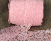 "Pink Lace Elastic 3.5""  Wide Lace Stretch Elastic  trim You Pick colors baby headband lace elastic garter lingerie 3, 5, OR 10 yards"