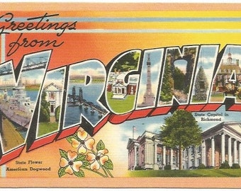 Vintage Linen Large Letter Big Letter Postcard State Souvenir -  Virginia - Richmond - American Dogwood - Orange