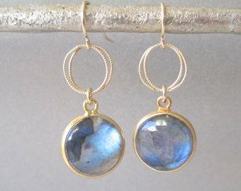 Labradorite Gemstone Gold Drop Earrings