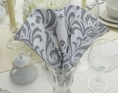 Dinner Napkins - Set of 4 - Damask White & Grey Fabric Dinner Napkins