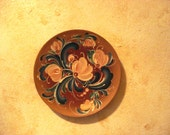Delicate Rosemaled Peach and Prussian Blue 6 Inch Plate