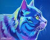 Cat, Pet Portrait, DawgArt, Cat Art, Pet Portrait Artist, Colorful Pet Portrait, Russian Blue Art, Pet Portrait Painting, Art Prints