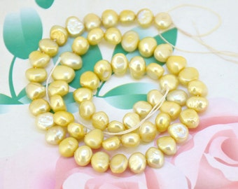Loose Flat Yellow Pearl Strand freshwater cultured pearl beads Round Seed Pearl Natural Gemstone Bead Whosale Pearls Strand, Full One Strand