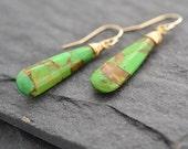Green Mojave Turquoise Earrings, Dangle Earrings, Gold Fill Jewelry, Drop Earrings, Long Earrings, Apple Green Earrings, Gift For Her