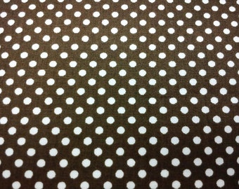 Small off-white dots, on brown,  fat quarter, pure cotton fabric