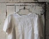 Vintage Girls Dress White Embroidered