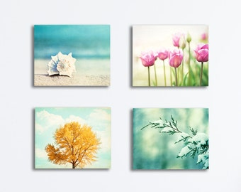 Four Seasons Canvas Set - seasonal nature photography winter spring summer autumn fall wall art 4 canvases gallery wraps aqua blue prints