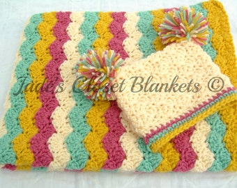 Baby Girl Gift Set, Crochet Crib Baby Blanket and Hat Gift Set, pink, cream, light sage, and yellow