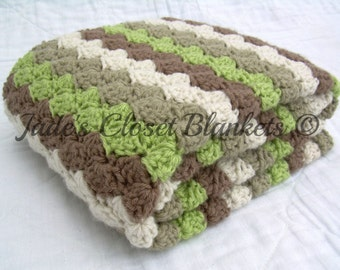 Crochet Baby Blanket, Baby Blanket, Earth Tones, Off White, Khaki, Green, and Brown, travel size