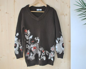 Brown floral Sweater VINTAGE 80's chunky womens sweater