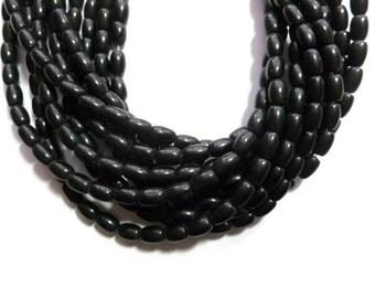 Black Obsidian - Barrel Bead - 6mm x 4mm - 64 Beads - Full Strand