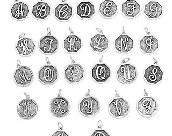 One Antique Silver Alphabet, Initial, Letter  Charm