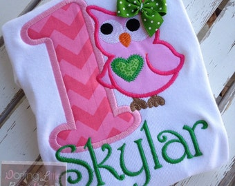 First Birthday Owl shirt, tank top or bodysuit for girls  -- Pretty Little Owl -- Green and pinks with name in pink chevron