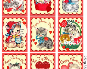 Digital Clipart, instant download, Valentines cards, tags for kids, kittens, kitty cat, ACEO Digital Collage Sheet (8.5 by 11 inches) 1946