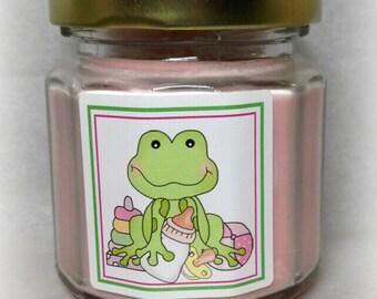 Frog with Bottle Baby Shower Favor, Green Frog with Baby Bottle, Baby Shower Soy Candle