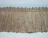 5 Yards Chamois Tan Cotton Tassel Trim, Brown Trim, brown tassel fringe, wholesale trim, beige chainette fringe, tan trim, tan fringe