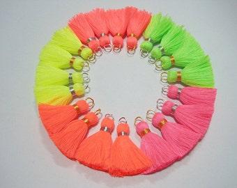 20 pcs Neon Cotton Tassel with Jump Ring and Metallic wrap, Tassel set, Wholesale Tassels, jewelry making, cotton tassel, tassel garland