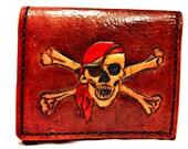 Jolly Roger Skull Wallet,Pirate Wallet,Sci Fi,Nerd,Geek,Leather Wallet,Boyfriend Gift,Birthday Gift,Holds 8 Credit Cards,Has 1 Bill Slots