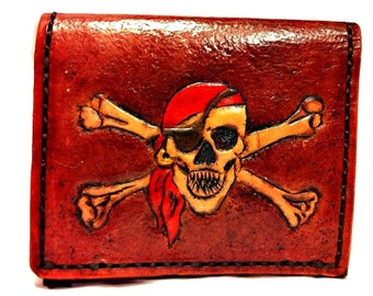 Jolly Roger Wallet - Skull Wallet - Pirate Wallet - Pirate Art - Steampunk Gift - Boyfriend Gift. Holds 8 Credit Cards,Has 1 Bill Slots