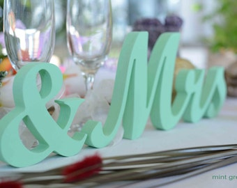 Mint green Mr and Mrs wedding table signs.Wedding table decoration. Wood Sign Mr Mrs. Sweetheart table decor wooden signs.