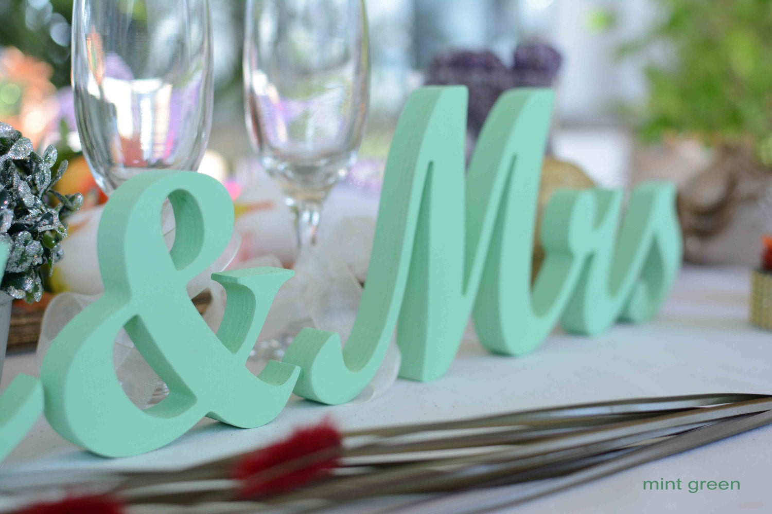 Mint Green Mr And Mrs Wedding Table Signs.Wedding Table