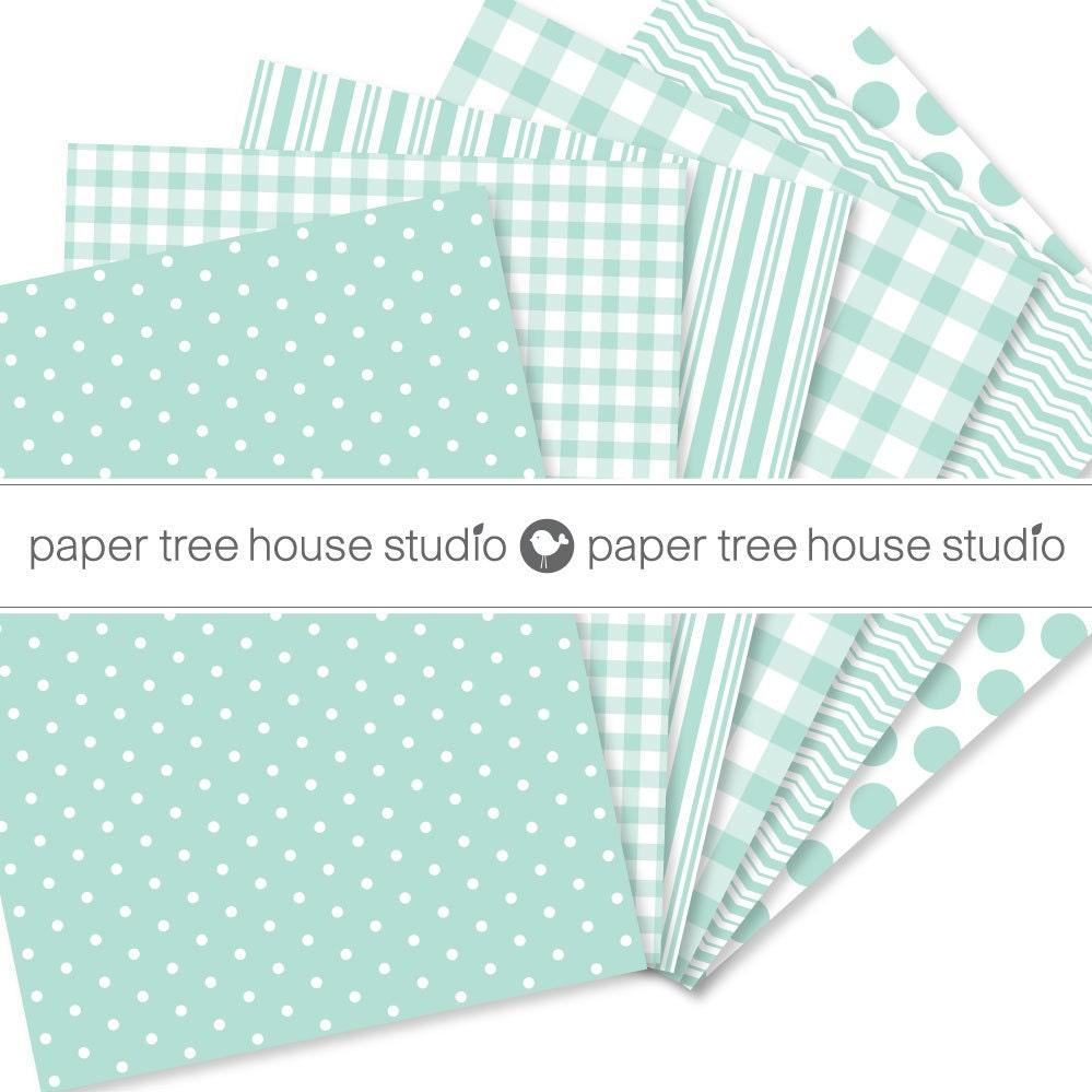 mint green digital paper mint green paper pack polka dot paper mint gingham digital paper. Black Bedroom Furniture Sets. Home Design Ideas