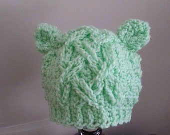Cabled Baby Bear Hat