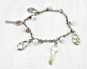 Vintage Pearl Charm Bracelet, Key Lock Charm Bracelet, Patina Silver Charm Bracelet, 1970s Vintage Jewelry, Romantic Jewelry Gift for Her