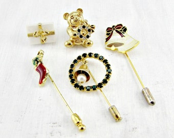 Vintage Christmas Pin Lot, Scarf Pins / Stick Pins / Lapel Pins / Collar Pins, Rhinestone Holiday Pins, Costume Jewelry Lot, Gift for Mom