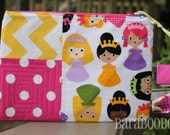 Zippy Zipper Pouch Case Princesses by Ann Kelle Robert kaufman Linen Cotton  Stocking Stuffer