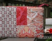 Zippy Zipper Pouch Case Salt Water by Tula pink Octopus, Nautica, peach, coral, cream Stocking Stuffer