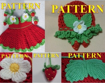 FIVE CROCHET PATTERNS for Baby Girl. Crochet Dress and Hat Set With strawberry decoration (3-12 month)