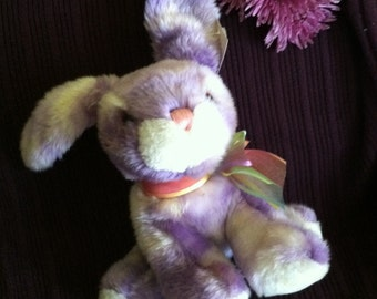 Bunny Stuffed Toy Rabbit Plushie Vintage Purple and White Stuffed Animal New Condition With Original Tags Child's Rabbit Toy Young Kids Gift
