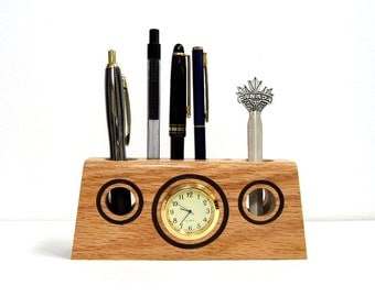 Unique Handmade Wood Pencils/Pens Holder - Solid Oak - with Clock inserted