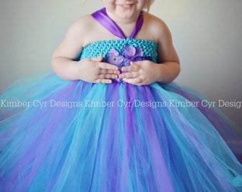 Turquoise and Purple Flower girl dress----customize--newborn to teen---with Shabby or Hydrangeas