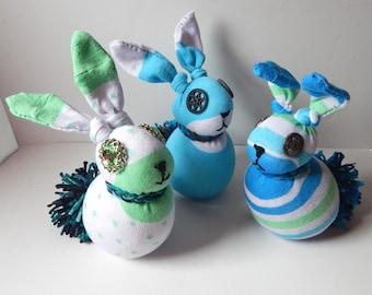 Upcyle pastel socks bunny trio stripe plush rabbit rag doll sock animals spring colors light blue pastel green