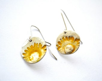 Sunflower PMC and Resin Earrings sterling silver