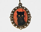 Black Cat Necklace, Cat Jewelry, Cats, Oval Pendant