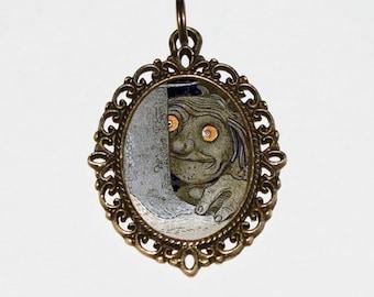 Troll Necklace, Fantasy, Mythology Jewelry, Forest Trolls, Bronze Oval Pendant