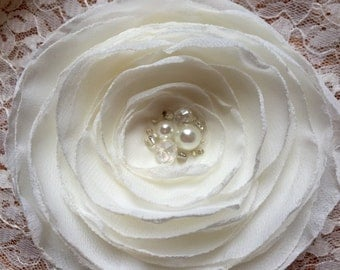 Ivory OR White Chiffon Flower Accessory with Iridescent and Pearl Center, Bridal Hair Flower, First Communion, Brooch, Hair Clip, Applique