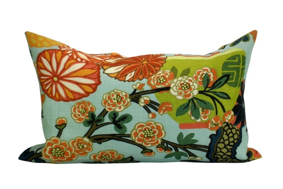 Chiang Mai Dragon lumbar pillow cover in Aquamarine