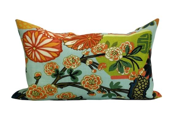 Schumacher Chiang Mai Dragon lumbar pillow cover in Aquamarine