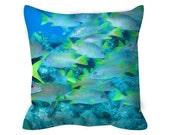 "School Crossing Caribbean Fish Throw Pillow including Pillow insert 14x14"", 14x20"", 16x16"""