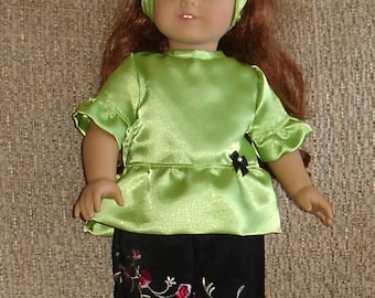 Sparkly Green Top & Floral Embroidered Pants Set With Headband Fits American Girl or Similar 18 Inch Doll