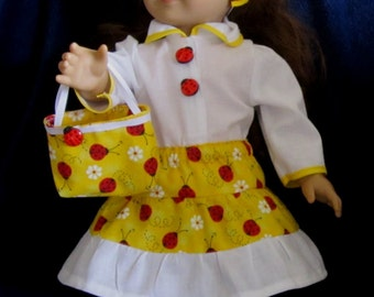 CLEARANCE 33% OFF Yellow Red White Ladybug Print Blouse 3 Tiered Skirt Purse Headband Set Fits American Girl Dolls or Similar 18 Inch Dolls