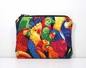 Zipper Coin Purse - Parrots - Little Zipper Pouch Little Pouch Small Gadget Case - Small Wallet - Tropical Birds